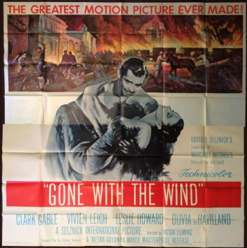Gone With the Wind, US 6 sheet film poster, Clark Gable, Vivien Leigh, 'R54